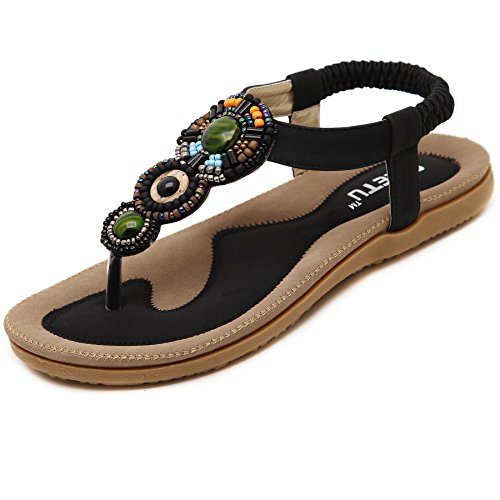 Damen Sandalen Zehentrenner Bohemian Strass Flach Sandaletten Sommer Strand Schuhe (42 EU, Schwarz) -
