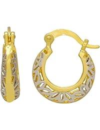 DzineTrendz Gold Silver Dual Tone Plated, Basket Shape Hoop Bali, Stylish Earrings For Women Brass Hoop Earring