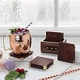 Store Indya - Regalos de Navidad, hecho a mano de madera conjunto de 6 posavasos cuadrados con soporte taza de vidrio taza de cafe taza de te Coaster cocina Barware vajilla accesorios