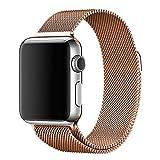 Milanaise Armband Ersatzband Uhrenarmband mit Magnetverschluss passend für Apple Watch iWatch Seriens 2 3 4 Farbauswahl und Größenauswahl (M002) (38mm / 40mm, Gold)