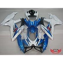 VITCIK (Kit de Carenado para Suzuki GSXR600-750 K8 2008 2009 2010 GSXR 600 750 K8 08 09 10) Accesorios de repuesto para bastidor y carrocería con completo para motocicleta y moldeo por inyección en ABS(Azul & Blanco) A054