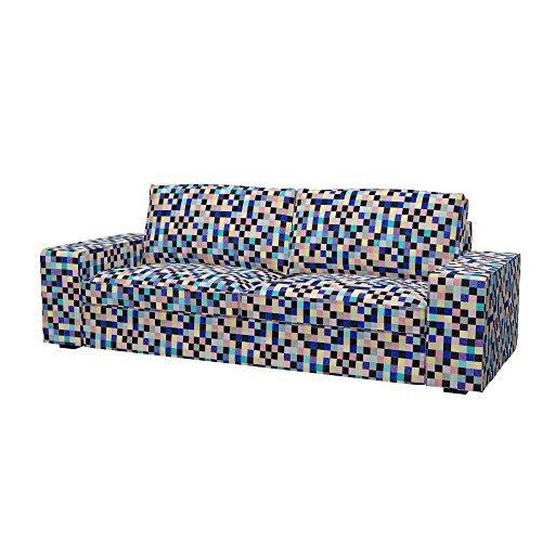 Soferia - IKEA KIVIK Funda para sofá de 3 plazas, Mozaik Blue