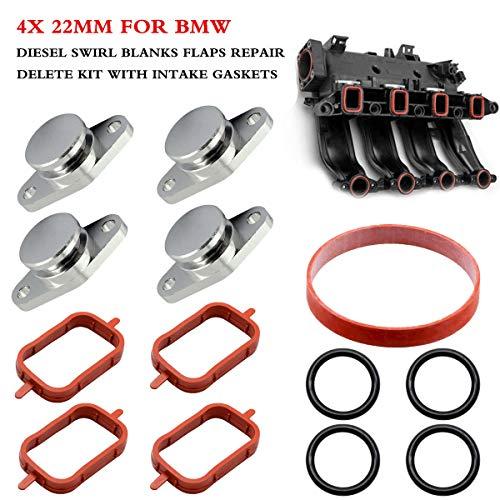 4x 22 mm bouchon Clapet Swirl Flap Blanks pour BMW 320d 730d Chrome aluminium