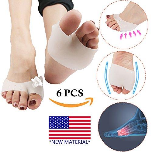 Cojín de la bola del pie, almohadillas metatarsales en la parte delantera del pie (6 piezas) * NUEVO MATERIAL * La media manga del pie es mejor para los pies diabéticos, el juanete de alivio, callo.