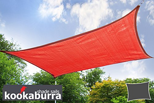 Voile d'Ombrage Rouge Rectangle 4x3m - Ajouré Premium - 185g/m2 - Kookaburra