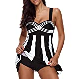VJGOAL Damen Tankini, Damen Plus Size Farbverlauf Tankini Bikini Tops + Shorts Sets Bademode Badeanzug Badeanzug (3XL / 42, X-Streifen-Schwarz)