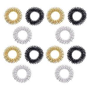 SUPVOX 12pcs Massage Ring Akupressur Sensorische Fingerringe Akupressurring Spiky Sensory Fingerringe Schmerztherapie Finger für Kinder Erwachsene (Gold Silber Schwarz)