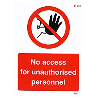 Caledonia Signs 23205E No Access For Unauthorised Personnel Sign, Self Adhesive Vinyl, 200 mm x 150 mm