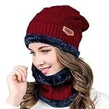 HIDARLING Invernale Berretti in Maglia con Sciarpa Invernale Beanie Set Cappello in lana sintetica calda per uomo/donna (Vino rosso)