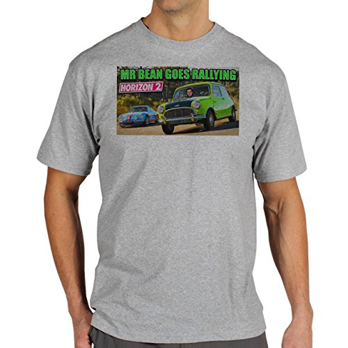 Mr Bean Goes Rallying Background Herren T-Shirt Grau