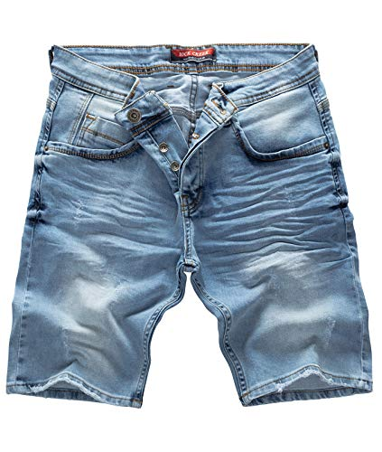 Rock Creek Herren Shorts Jeansshorts Denim Stretch Sommer Shorts Regular Slim [RC-2121 - Blue Vintage W30] Vintage Blue Denim