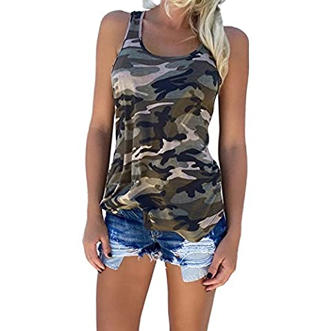Minetom Women Summer Loose Casual Army Style Camouflage Sleeveless Tank