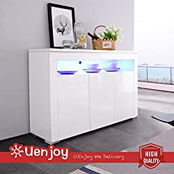 UEnjoy W130Cm*D40Cm*H88Cm 3-Doors White Sideboard High Gloss Cheap Chest of Drawers Led Tv Unit Furniture Cabinet for Living Room Dining Room