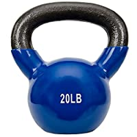 Sunny Health & Fitness Unisex Adult NO. 066-20 Vinyl Coated Kettle Bell - 20lbs - Blue, One Size