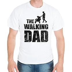 Shirtinator Lustiges T-Shirt für Herren Männer | Geschenk für (werdende) Papas und Väter | The Walking Dad | Original (Weiß, XL)