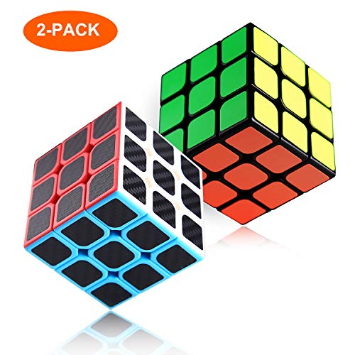 2er Pack Rubix Cube Speed   Cube 3x3, Rubiks 3D-Puzzlespiel, mit Carbonfaser-Sticker, Smooth Speed   Twist mit Original Magic Cube-Farbe, verbesserte Version, 5,7 cm