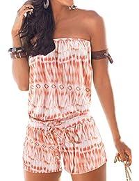 Yidarton Combishort Femme Été Chic Sexy Bustier Sans Bretelles Dos Nu Mode Jumpsuit Plage Imprimée Floral