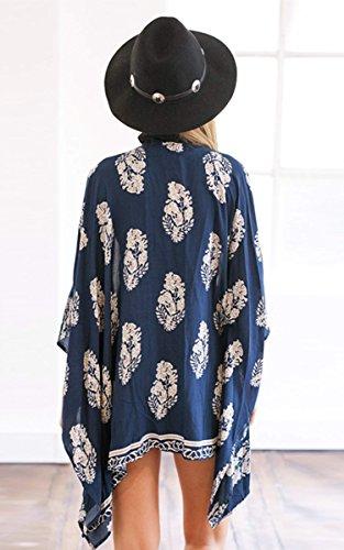 Kimono, cardigan, chemisier avec ceinture, imprimé floral, pour la plage, peignoir, par Finejo Bleu Marine
