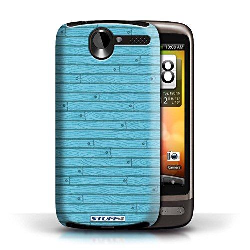 Kobalt® Imprimé Etui / Coque pour HTC Desire G7 / Turquoise conception / Série Motif Bois Turquoise