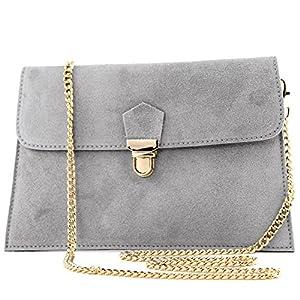 modamoda de – Made in Italy – Cartera de mano para mujer Klein, color Gris, talla Klein