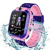 Smartwatches pour Enfants IP67 étanche - Smart Watch LBS Tracker écran Tactile Caméra SOS Appelant Moniteur à Distance Garçon Fille Noël Cadeau Cadeau d'anniversaire (S12-Pink)