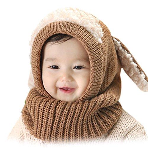 OFKPO Kinder Winter mütze und Schal mit Ohren,Schalmütze aus Wolle(Braun) - 4