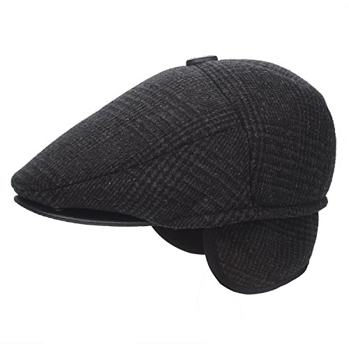 Flammi Herren Tweed Flatcap Earflap Hat Soft Lined Newsboy Ivy Cap - Schwarz - MEDIUM Plaid Hat Earflap