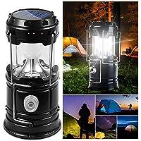 DAMIGRAM Lampara de Camping, Solar Lámpara Estirable de Luz LED Exterior Plegable Impermeable, Easy On & Off, para Camping, Vehículos, Cobertizos, Garajes, Emergencia, Excursión, Pesca