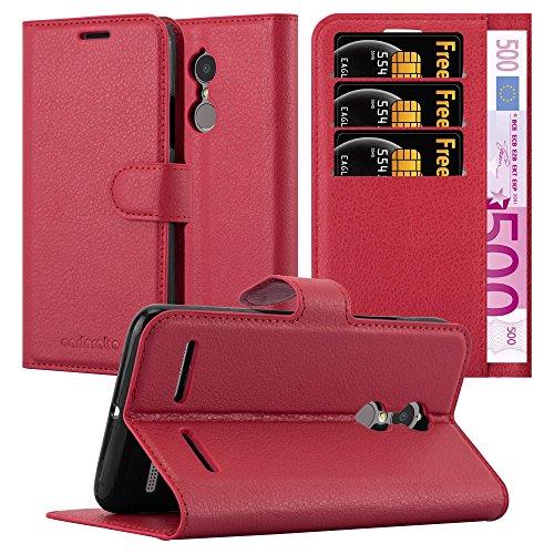Cadorabo Hülle für Lenovo K6 / K6 Power - Hülle in Karmin ROT – Handyhülle mit Kartenfach und Standfunktion - Case Cover Schutzhülle Etui Tasche Book Klapp Style