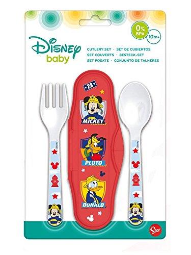 Elemed 44014 Kleinkind 2 Stück, Pp Besteck Travel Set Mit Micky Maus und Pluto, mehrfarbig
