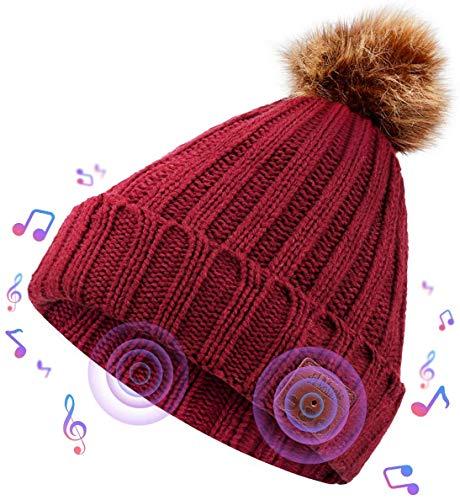 NBPOWER Bluetooth Mütze Beanie Bluetooth Musik Hut Bluetooth kopfhörern StrickMütze mit Stereo Lautsprechern und Mikrofon Geburtstagsgeschenke für Frauen Winter Hüte - Rot