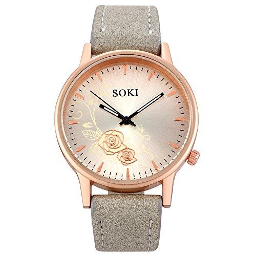Armbanduhr Damen Ronamick Frauen Mode Leder Band analoge Quarz runde Armbanduhr Armband Uhr Uhren (B)