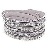 Armband Slake Wrap Kristall Straß brillante doppelte Reihe aus Wildlederleder grau