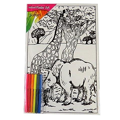Enfants Grand Velours Affiche Art - Animaux de Safari - Taille 375mm x 250mm