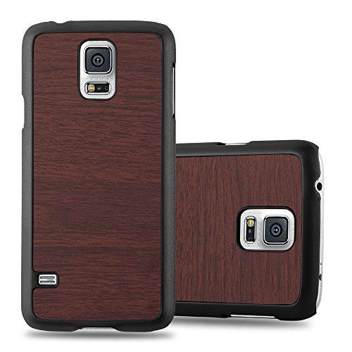 Preisvergleich Produktbild Cadorabo Hülle für Samsung Galaxy S5 / S5 Neo - Hülle in Wooden Kaffee – Hardcase Handyhülle in Vintage Holz Optik - Schutzhülle Bumper Back Case Cover