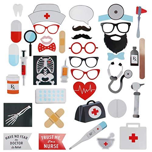 Sayala 40Stück Krankenschwester Graduation Photo Booth Requisiten - DIY große Abschluss Dekorationen Kits für 2019 Graduation Party Supplies, Doktor Nurse Graduation Party Supplies ()