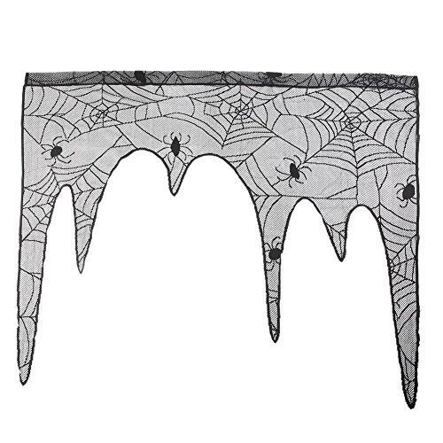 RUIBUY Halloween Deko Kaminsims Verkleidung Cover Spiderweb Bat Schwarze Spitze feiertliche Party liefert Scary Movie Nights