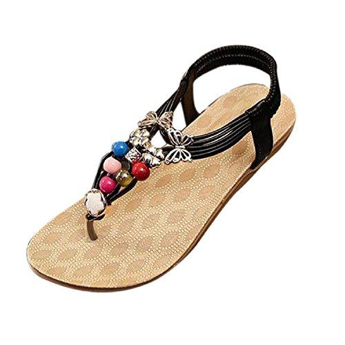 Minetom Donne Ragazze Estate Sandali Boemo Stile Perline Scarpe Clip Toe Pantofole Nero