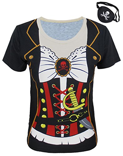Funny World Damen Piraten Kostüme T-Shirts mit Augenklappe -