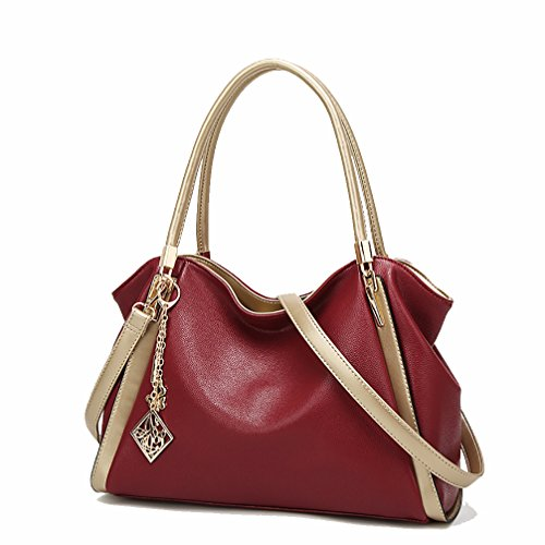 VANCOO Womens Handtaschen Damen Designer Schultertasche PU Leder 3 Fächer Tote New Celebrity Style Large (Red)