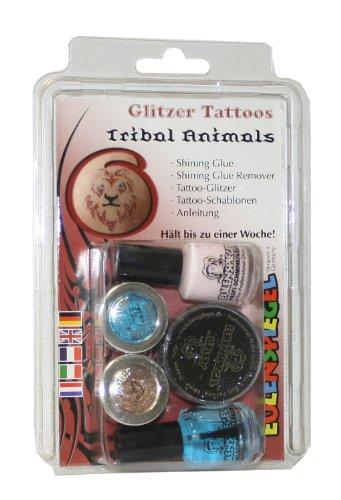 Preisvergleich Produktbild Eulenspiegel 730577 Glitzer Tattoo Set, Tribal Animals