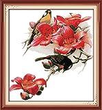 yeesam Art® New Kreuzstich Kits anspruchsvoll–Kapok rot Blume Rechnung gestellt Leiothrix 14Count 53x 56cm weiß Leinwand, Naht Christmas Gifts