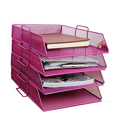 4 Tier-mesh (Zhangcaiyun-Office Supplies Schwarz/Pink Desktop Storage Aktenhalter 4 Tier Mesh Schreibtisch Organizer Tray Letter File Holder Hängender Aktenhalter (Farbe : Rosa))