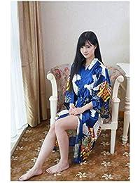 GAOHUI Señoras Estilo China Seda Albornoz Primavera Verano Otoño Home Ocio Arquitectura Albornoz,Azul Marino,Código Uniforme