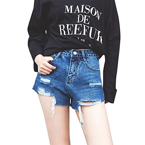 Femmes Taille Haute Trou Déchiré Denim Shorts Court Jeans Bleu Gris
