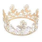Mode Goldene Hochzeit Tiara Strass Braut Krone Stirnband Retro Schmetterling Kopfschmuck für Festzug Party