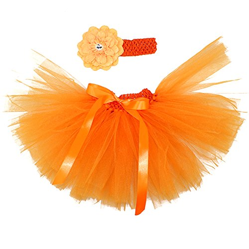 Honeystore Baby Fotoshooting Kostüm Haarbänder Rock Set Foto Outfit Stirnbänder Farbenfroh Tütü Balletrock Mini Unterrock Fotografie Verkleidung One Size Orange mit Päonien
