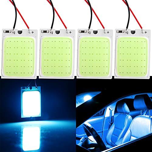 Grandview 4pcs Pannello Blu Ghiaccio LED Luce a Risparmio Energetico COB 24-SMD Luci a Cupola per Auto Luci per Interni Auto Luci di Lettura Plafoniere da Tetto con 3 Adattatori Garanzia di 2 A