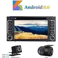 """Android 8.0 Car Autoradio, Hi-azul In-dash 2 Din 8-Core 64Bit RAM 4G ROM 32G Car Radio 7"""" Autonavigation Kopfeinheit Car Audio mit 1024 * 600 Multitouch-Bildschirm und DVD Player Moniceiver für TOYOTA RAV4/ Corolla/ Camry/ Vitz/ Echo/ Corolla EX/ Vios/ Hilux/ Prado/ Land Cruiser 100 Unterstützen Lenkradkontrolle (Dimension: 200*105mm) (mit Rückfahrkamera und DVR)"""