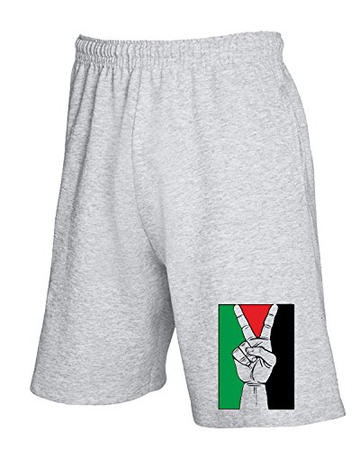 Cotton Island - Pantalone Tuta Corto T0103 PALESTINA PEACE militari Grigio